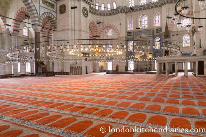 Inside Süleymaniye Mosque Istanbul Turkey