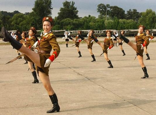 North Korean marching