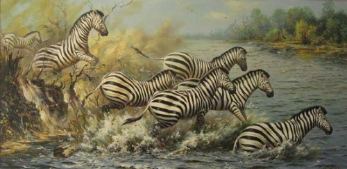 Wildlife painting by Pak Hyo Song