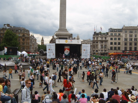The Dano festival about to start in a grey Trafalgar Square