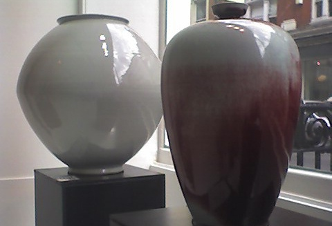 Moon Jar and red copper underglaze vase