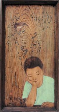 Duck Yong Kim: A Boy, Mixed media on wood, 46x88cm