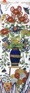 Flowers and Birds. Kim So Sun. Painting on White Porcelain, 26.5 x 80 cm
