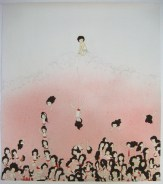 Kyung Jeon, Pushing Down, 2008. Gouache, graphite, watercolor on rice paper on canvas
