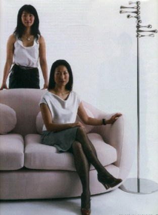 Jackie (seated) and Lloyd Choi, with Malvern sofa and So coatstand