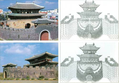 Gates Changan (above) and Paldal (below); the images on the right are from Hwaseong Fortress Uigwe