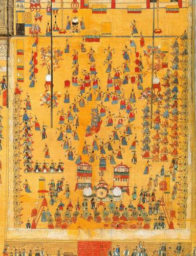 King Chongjo held a grand banquet on his mother's 60th birthday at Hwaseong Fortress. (A page from the Uigwe)