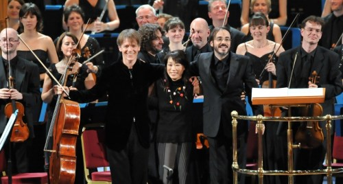 (left to right) Alban Gerhardt, Unsuk Chin and Ilan Volkov, at the BBC Proms on 13th August. Credit: Chris Christodoulou, BBC