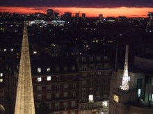 Sunset over All Souls' Langham Place, as we finish the interview