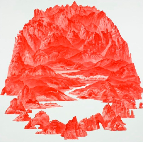 SeaHyun Lee: Between Red-32, Oil on linen, 200 x 200cm, 2007