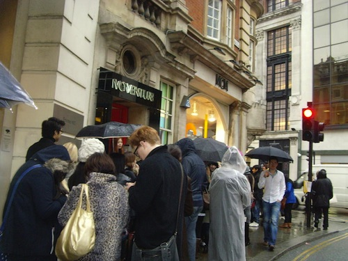The queue outside the MCM store - in the rain