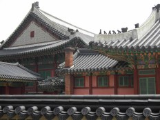 Changdeokgung roofscapes: the Huijeongdang seen from the Seonjeongjeon