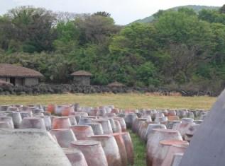 Ceramic pots which seem to echo the landscape
