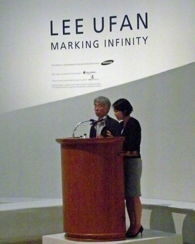 Lee Ufan talking at the Press opening of Marking Infinity at the Guggenheim