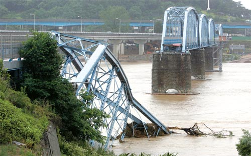 The collapsed Bridge of National Defense on the Nakdong River, Chilgok County, Gyeongsangbuk-do