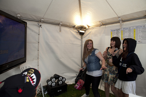 Inside the Noraebang tent