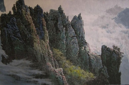 A landscape painting by the late North Korean artist Sonu Yong