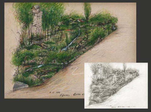 Hwang Jihae's sketch of her proposed DMZ garden, to be shown at Chelsea this year