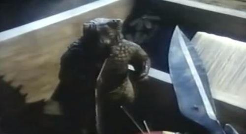 The baby Pulgasari eats his way through the sewing box