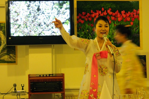 An employee at Pyongyang Restaurant, the first North Korean restaurant in Europe, entertains customers. (YONHAP)