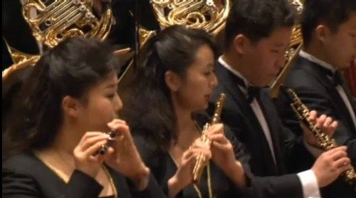 Musical bling: gold-plated oboe and flute in the Unhasu wind section
