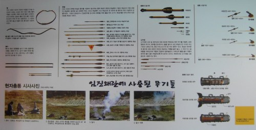 Varieties of Joseon dynasty firepower - from a board inside the turtle ship in Tongyeong harbour
