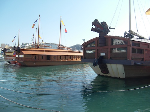 Two of the turtle ships in Tongyeong harbour