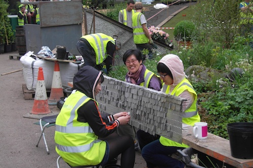 Some of the volunteers helping with the memorial bench