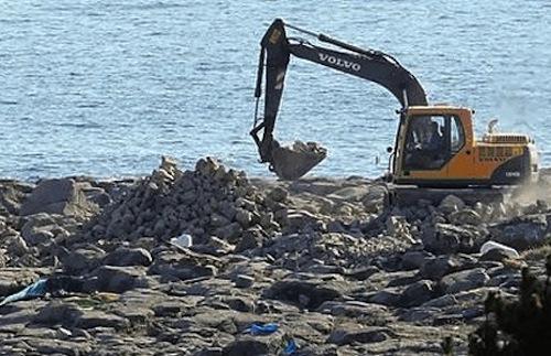 Construction in progress on the rocks outside Gangjeong Village