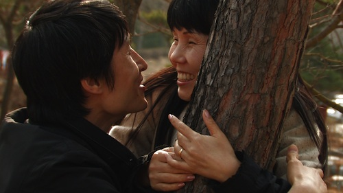 Young-chan and Soon-ho enjoy a three-way date with a tree
