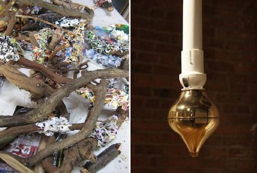 Tariq Alvi: Studio table with sticks and flyers (2012). Jiho Won: Peaceful Moment (2011)
