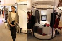 Kwon Seonyeong models her felt shawl / cardigan alongside her stall