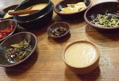 Dongdongju and side dishes
