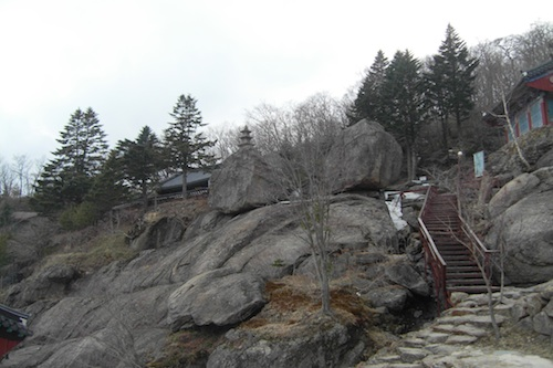 Looking up towards the highest part of Beopgyesa, to the main shrine and the three-storey stone pagoda