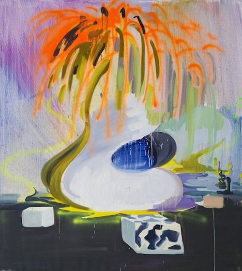 Lee Jinhan: Volcano Duck and Three Moo Boxes (2012). 200x180cm Oil and spray paint on linen.
