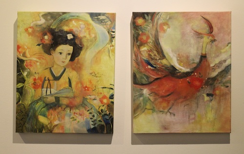 Two works by Eunjung Feleppa including (left) The Ghosts of the Flower (2012)