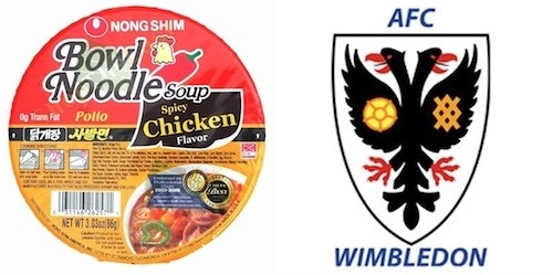 AFC Wimbledon crest with Dong Shim noodles