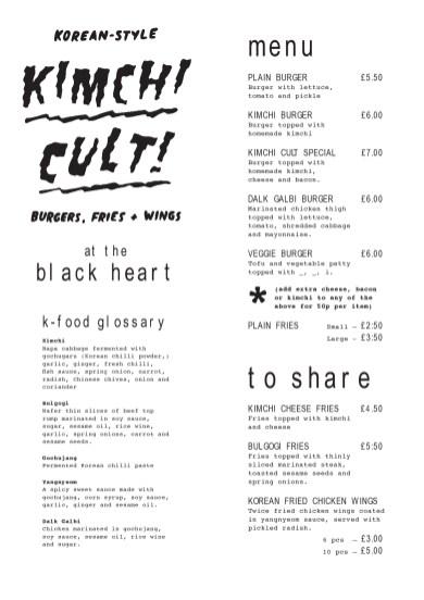 The Kimchi Cult menu