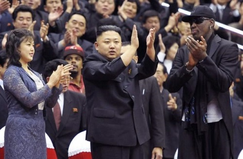 Kim Jong-un flanked by Dennis Rodman and Ri Sol-ju