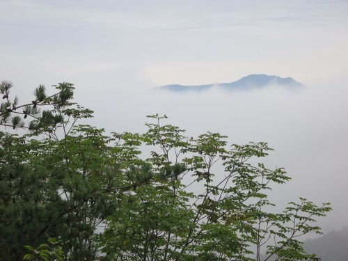 The peak of Hwangmaesan emerges from the cloud
