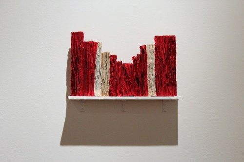 Jukhee Kwon: Abstract Book Landscape, 2013. Paper and acrylic paint, 20 x 50 cm.