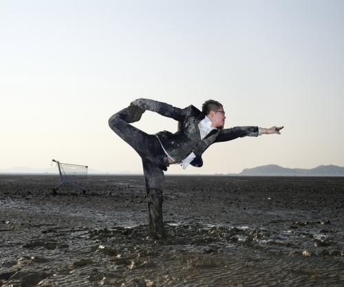 Jungho Oak: Standing Bow Pulling Pose- Dandayamana Dhanurasana (2011) Digital Print ,127 x 152cm