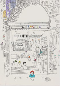 Hakyung Choi, Station, 80x55cm, mixed media on paper, 2009