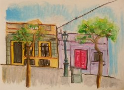 Yeonok Jang, Building Near Guell Park, 24.5cm x 18cm, oil pastel on paper, 2013