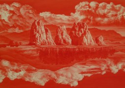 Close-up of a detail of a Lee Sea-hyun Between Red painting