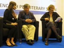 LBF - Yi Mun-yol and interpreter with The Guardian's Claire Armitstead