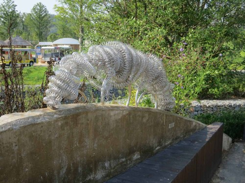 One of the sculptures using recycled materials