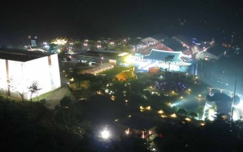 A view of the Expo by night