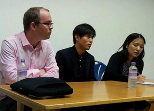 L to R:  Michael Glendinning, Shin Dong-hyuk, and Chung Soomin