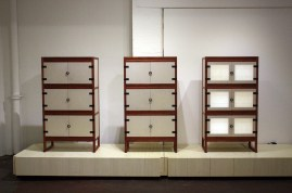 Elegant cabinets made by Park Myeong-bae and Han Kyung-hwa at Tent London (photo: KCDF)